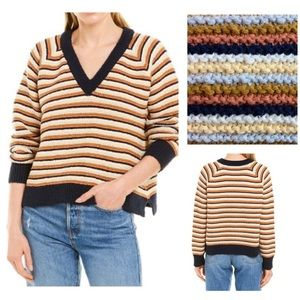 Madewell Cropped Striped V-Neck Sweater Small New
